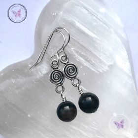 Dumortierite Silver Coil Dangle Earrings